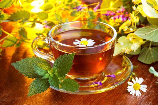 Травяной чай в прозрачной чашке на блюдце