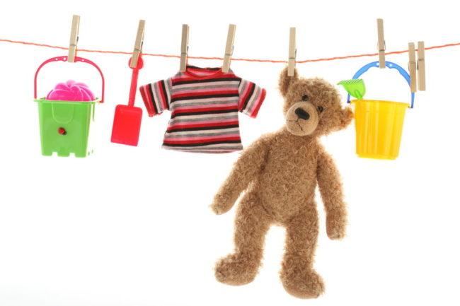 Сушка детских игрушек на верёвке