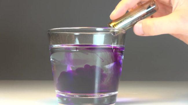 Марганцовка и стакан с водой