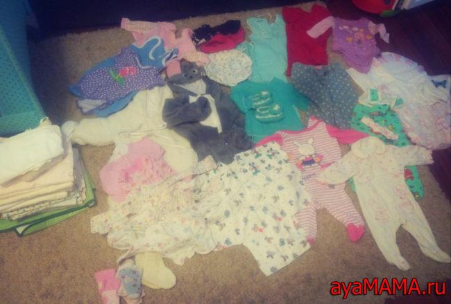 Пелёнки и одежда для новорожденной девочки