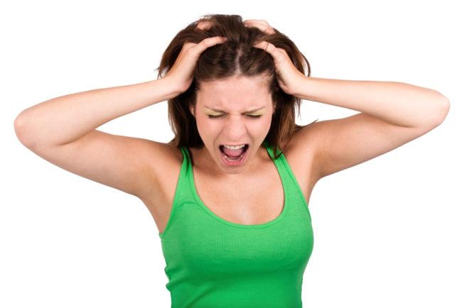 Женщина в нервозном состоянии