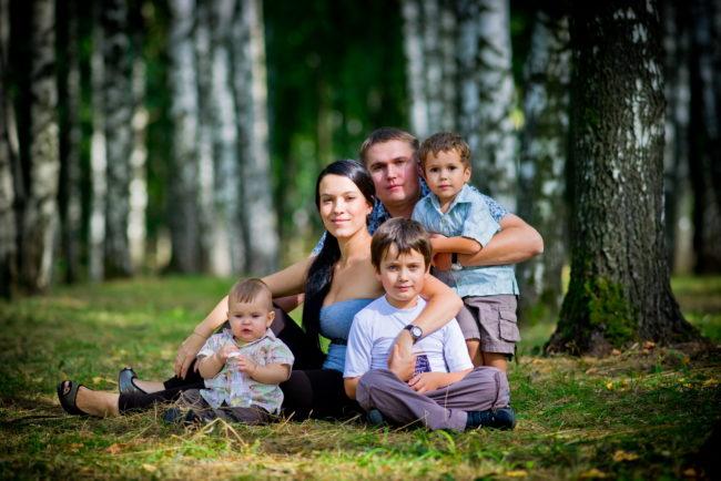 Большая семья сидит на лужайке позируют фотографу